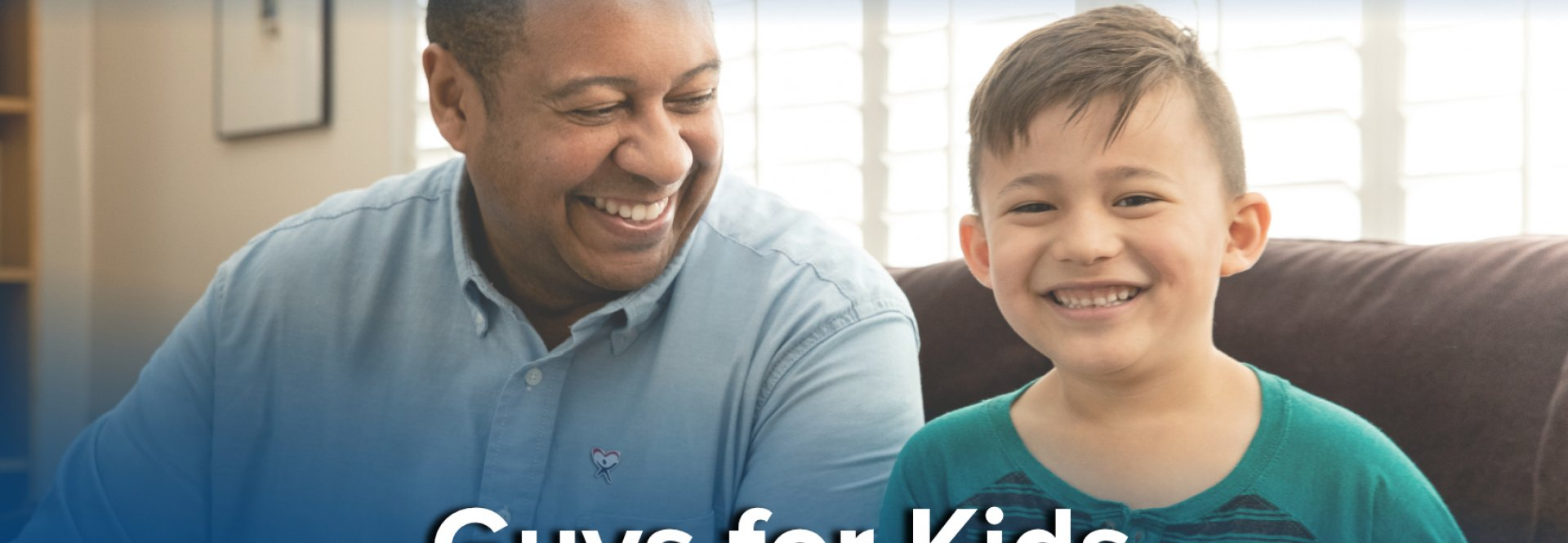 Guys for kids website banner, male adult CASA volunteer with male child. Volunteer Recruitment Event For Winnebago County CASA : GUys for kids